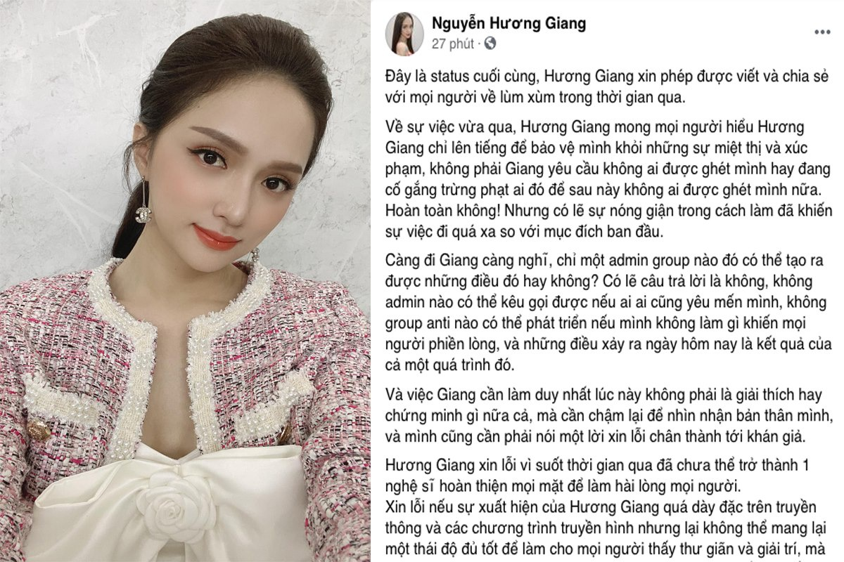 Hương Giang xin lỗi sau ồn ào bị cộng đồng mạng tẩy chay