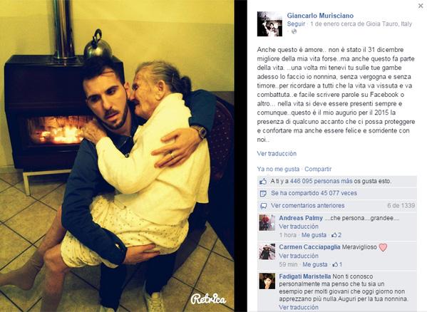 Bức ảnh cháu trai 28 tuổi bế bà nội gây sốt cộng đồng mạng Italy