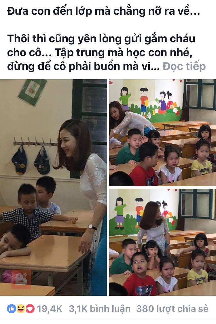 """Cộng động mạng """"sốt"""" vì cô giáo tiểu học xinh như hot girl ở Hà Nội"""