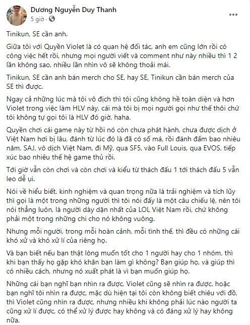 SBTC Esports thi đấu chưa đạt kỳ vọng, Tinikun vẫn lên tiếng ủng hộ HLV Violet