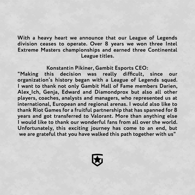 Tượng đài Gambit Esports tuyên bố giải thể đội Liên Minh Huyền Thoại sau 8 năm