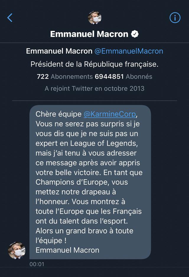 Vô địch giải hạng 2 châu Âu, team LMHT được đích thân Tổng thống Pháp gửi lời chúc: Các bạn đã làm rạng danh nước nhà