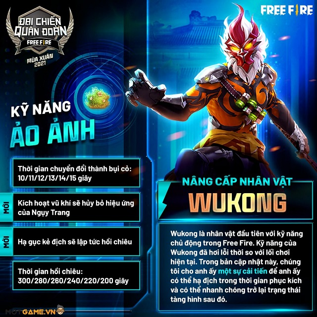 """Hướng dẫn combo kỹ năng """"bụi cỏ chết người"""" với Wukong trong Free Fire OB27"""