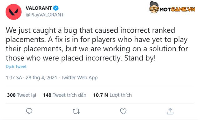 Valorant: Bug khủng khiến người chơi bị 'xếp nhầm' bậc rank
