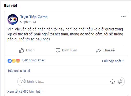 """[Tin nóng] Kênh stream hàng đầu Việt Nam """"Trực Tiếp Game"""" sẽ tạm nghỉ trong một thời gian"""