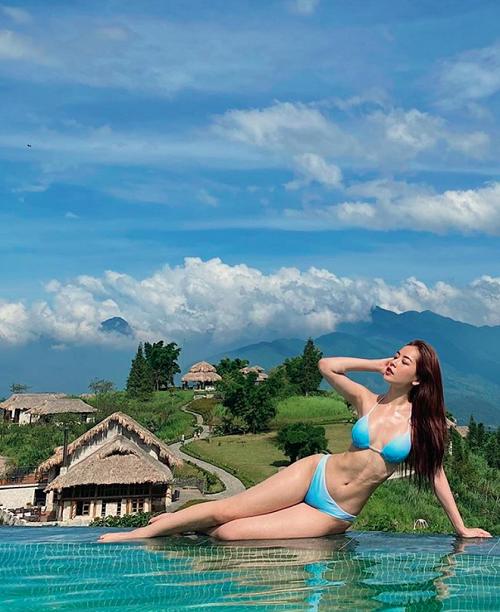 Chi Pu khoe vóc dáng gợi cảm khi diện bikini xanh táo bạo khiến dân mạng trầm trồ