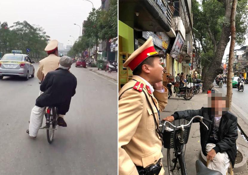 """CSGT đạp xe chở cụ già bị lẫn đi tìm nhà """"đốn tim"""" cộng đồng mạng"""
