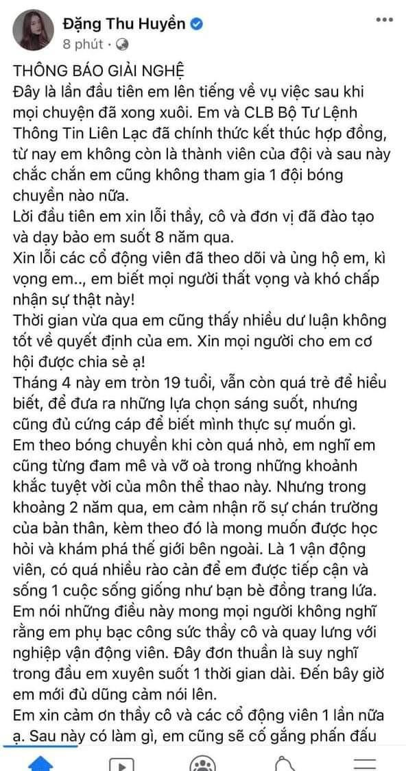 Hot girl bóng chuyền 19 tuổi Đặng Thu Huyền giải nghệ vì chán chường?
