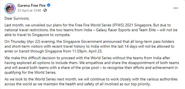 Vì COVID-19, 2 đội Ấn Độ sẽ không thể tới tham dự FFWS 2021 Singapore