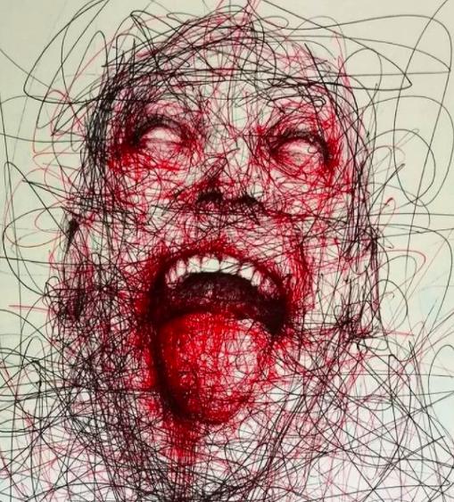 """Vẽ graffiti bằng bút bi, nam hoạ sĩ khiến người xem """"nổi da gà"""" với những bức tranh kỳ quái"""