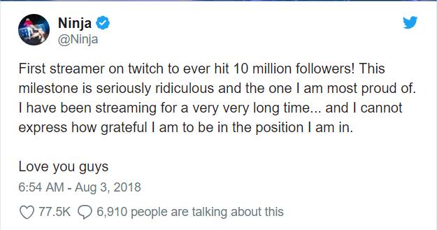 Không thể tin nổi, Ninja đã đạt 10 triệu lượt theo dõi, đúng là siêu cấp vô địch