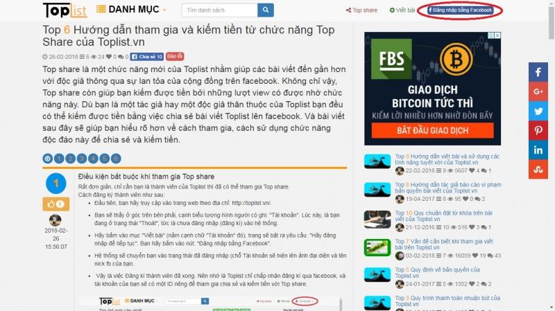 Top 5 Hướng dẫn tham gia và kiếm tiền từ chức năng Top Share của Toplist.vn