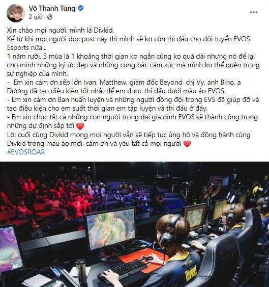 Divkid, Bie, Sorn đồng loạt tuyên bố chia tay EVOS Esports, tin đồn giải thể sắp trở thành hiện thực?