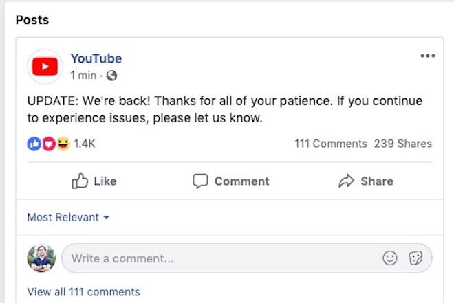 """Sau 2 giờ sập toàn cầu, YouTube thông báo """"chúng tôi đã trở lại"""""""