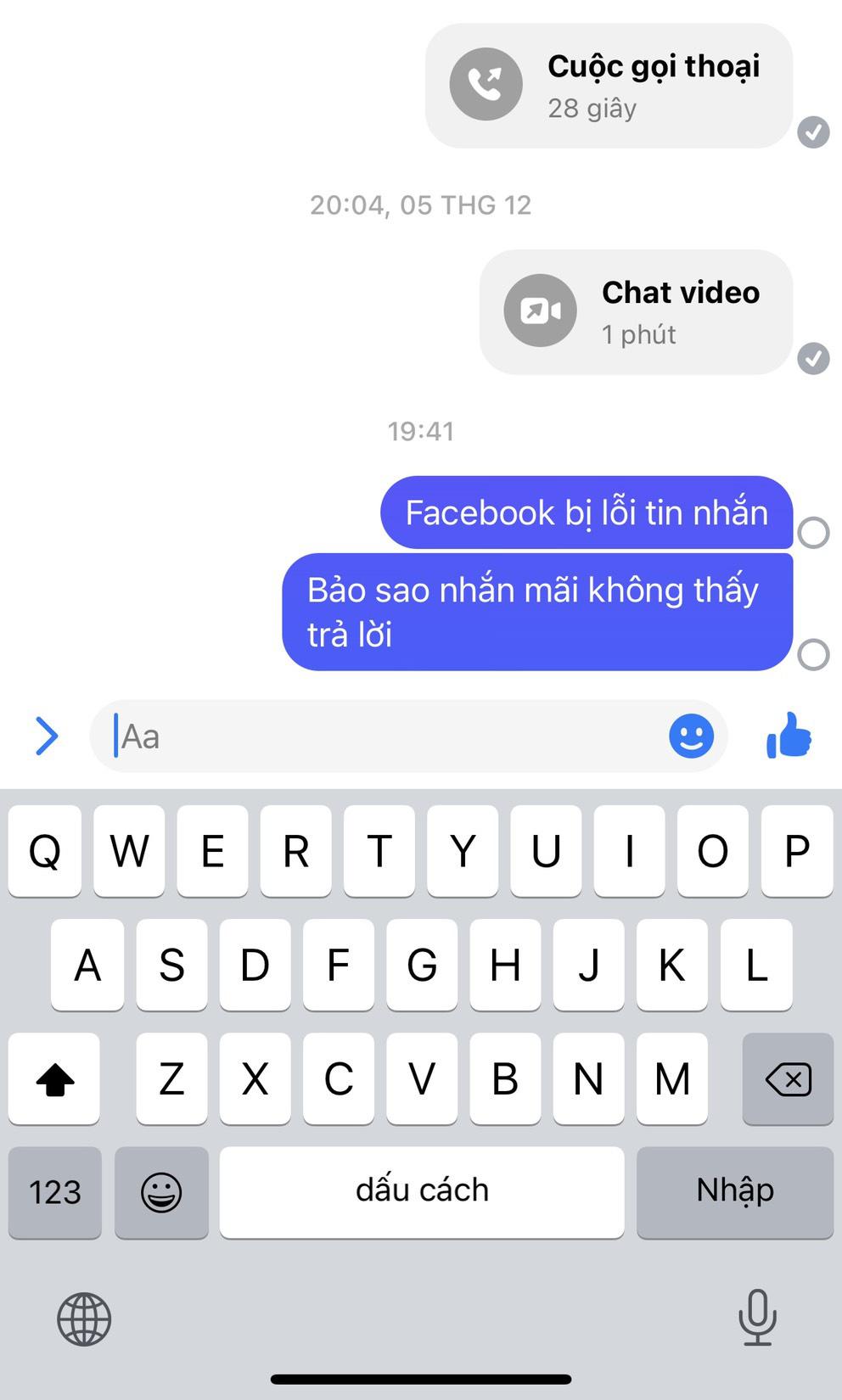 """Người dùng Facebook tại Việt Nam """"nhăn nhó"""" vì lỗi tin nhắn"""