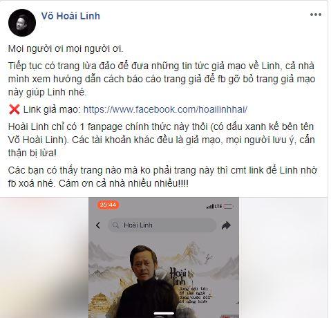 Bị giả mạo facebook lừa đảo, Hoài Linh kêu gọi fan báo cáo, không bị mắc lừa
