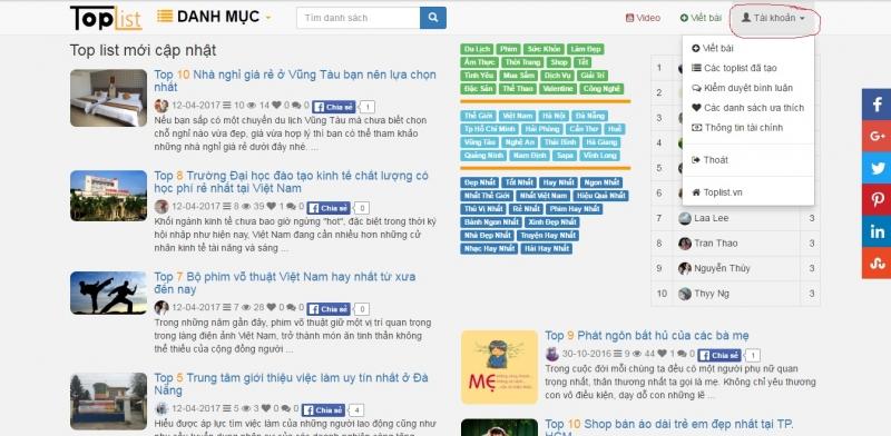 Top 10 Hướng dẫn viết bài và sử dụng các tính năng tuyệt vời của Toplist.vn