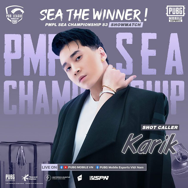 Karik sẽ đồng hành cùng giải đấu PMPL SEA Championship S3 của PUBG Mobile