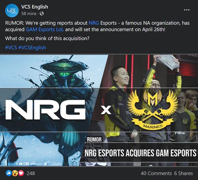Tin đồn: GAM Esports sẽ được NRG Esports mua lại!