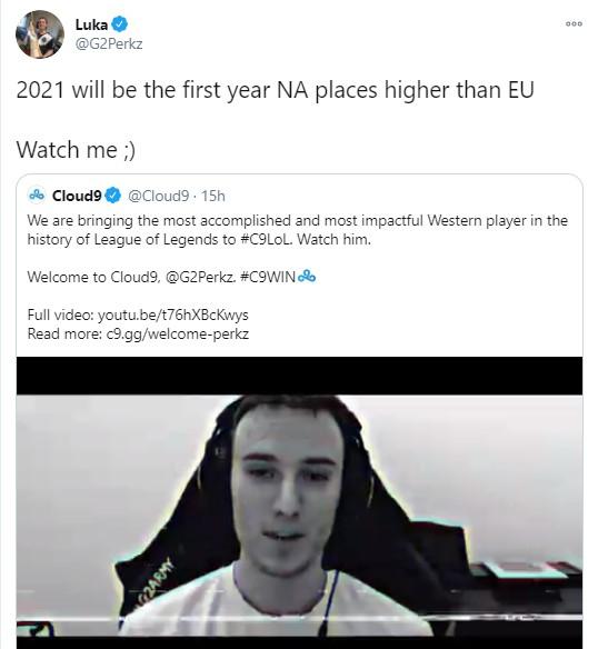 Vừa chuyển sang Cloud9, Perkz đã mạnh miệng 'gáy khét', tuyên bố Bắc Mĩ sẽ… hất cẳng châu Âu
