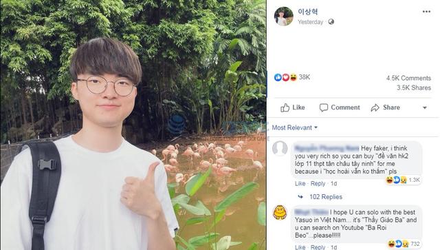 LMHT: Facebook của Faker tràn ngập 'trẻ trâu Việt', hết gạ kèo solo lại buông lời thô tục