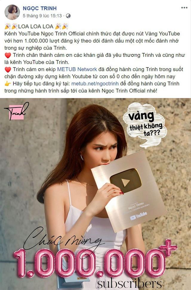 Hơn đứt nhiều Youtuber đình đám, Ngọc Trinh là cái tên mới nhất giành được nút vàng Youtube