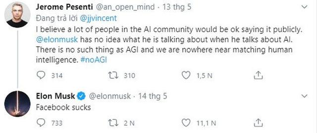 """Bị giám đốc AI của Facebook chê là thiếu hiểu biết về trí tuệ nhân tạo, Elon Musk đáp trả kiểu cãi cùn: """"Facebook dở ẹc"""""""