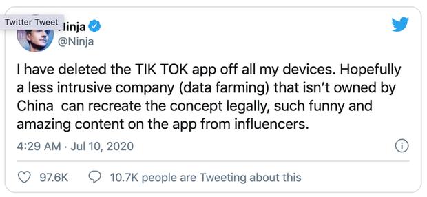 Streamer nổi tiếng nhất thế giới Ninja tuyên bố bỏ TikTok vì lo ngại vấn đề bảo mật
