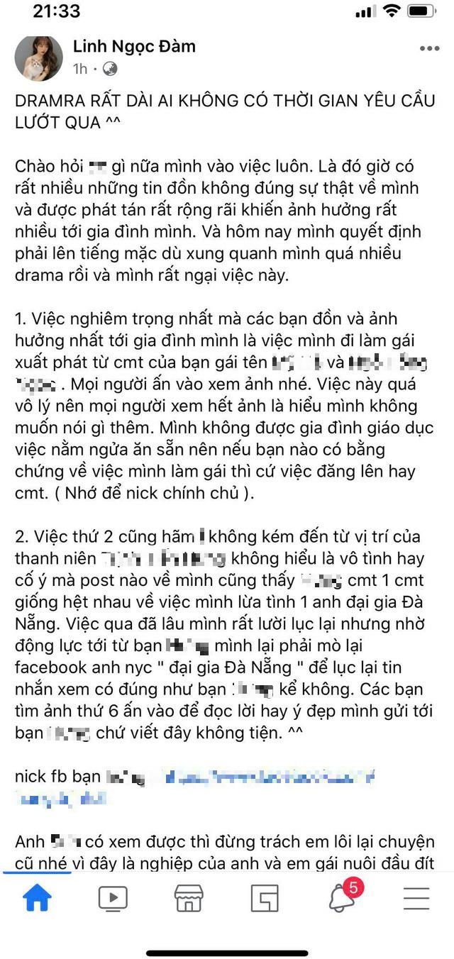 """Linh Ngọc Đàm bất ngờ viết status drama dài dằng dặc, gay gắt khi bị anti fan tung tin đồn """"làm gái"""", lừa tình đại gia"""