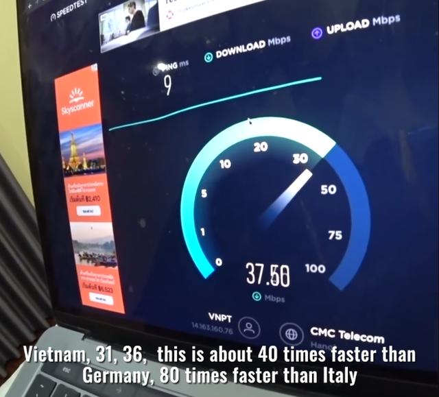 """Youtuber thế giới """"sốc nặng"""" trước tốc độ Internet ở nông thôn Việt Nam, nhanh gấp 80 lần so với một số nước châu Âu"""