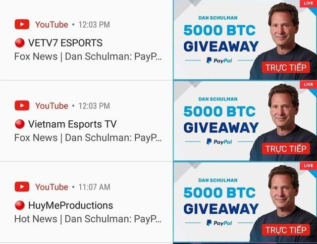 2 kênh Youtube của VETV đồng loạt bị hack, chuyển sang quảng cáo… bitcoin