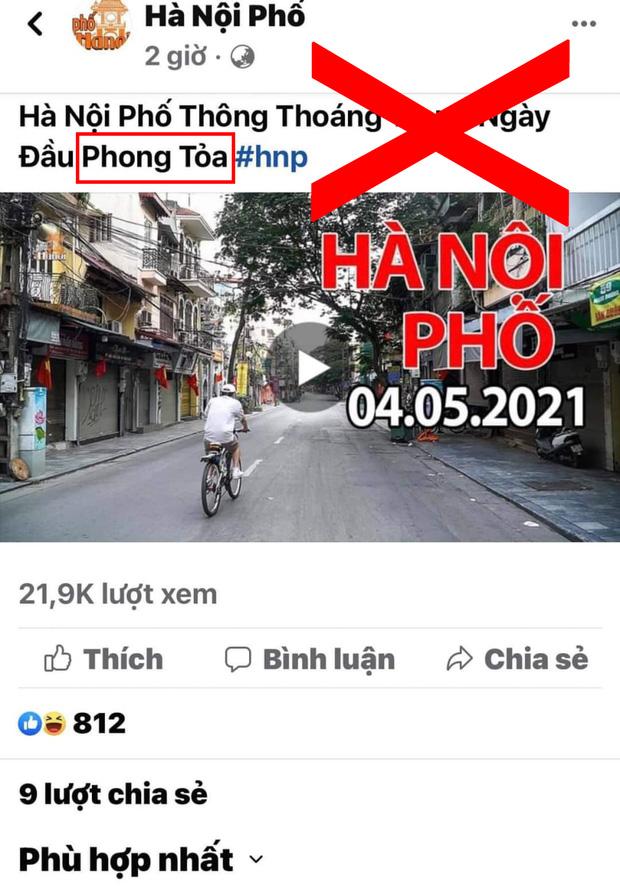 Chia sẻ thông tin Thủ đô bị phong toả ngày 4/5/2021, Duy Nến – chủ nhân kênh Hà Nội Phố bị phản đối dữ dội vì đưa nội dung sai lệch