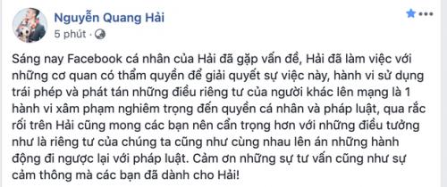 """Quang Hải bị """"hack"""" facebook, bạn gái Huỳnh Anh hủy trạng thái hẹn hò"""