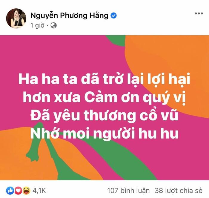 'Mất tích' hơn 1 tháng trên facebook chính chủ, bà Phương Hằng cuối cùng 'đã trở lại và lợi hại hơn xưa'