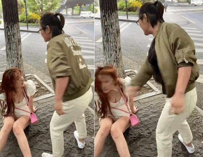 Hot girl váy ngắn bị nữ tài xế tát liên tục ngã dúi dụi xuống đất
