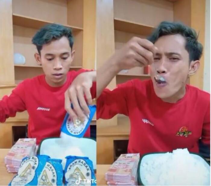 Ăn 4 gói muối 1 lúc để nhận tiền thưởng, vẻ mặt đau đớn của TikToker khiến nhiều người lo lắng