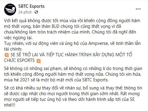 """""""Vượt cạn"""" thành công, SBTC Esports chính thức trụ lại VCS sau khi tìm được nhà tài trợ"""