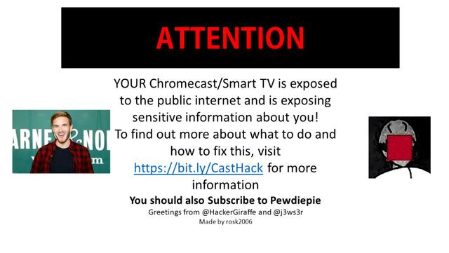 Tiếp tục hack cả Smart TV và Chromecast, đội ngũ Hacker tuyên bố ủng hộ Pewdiepie tới chết