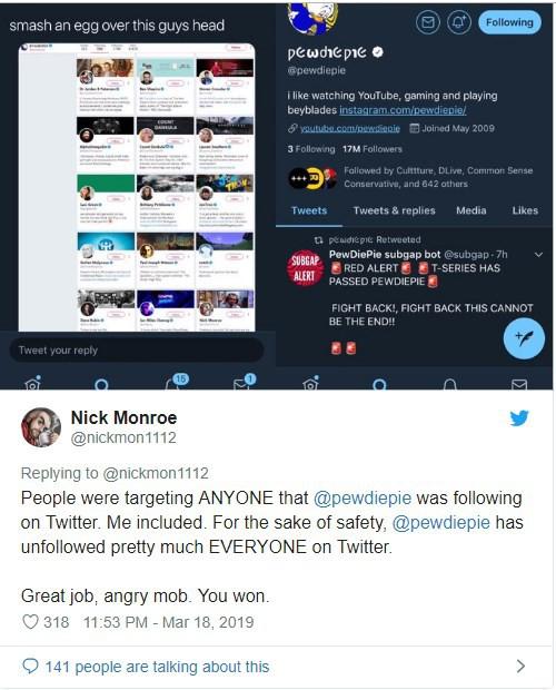 Hậu vụ xả súng: bị dọa giết, Pewdiepie hủy theo dõi toàn bộ mọi người trên Twitter, trừ nhóm nhạc Kpop BTS