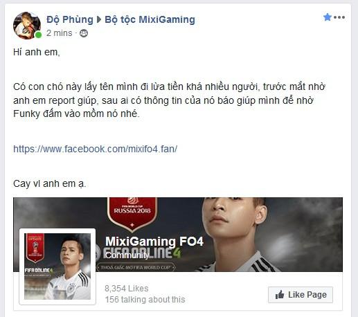 Độ Mixi bị mạo danh để lừa đảo trong Fifa Online 4