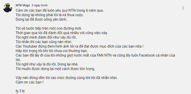 """NTN nhắn nhủ: """"Đừng dồn tôi vào đường cùng khi tôi đã nhẫn nhịn"""", fan hâm mộ cầu khẩn """"Anh ơi anh trở lại"""""""