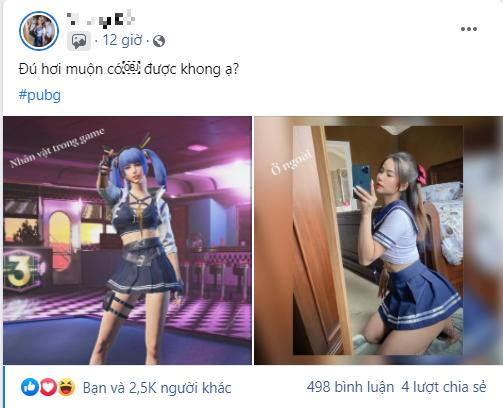 """Nữ game thủ khiến CĐM """"điên đảo"""" khi cosplay nữ sinh trong game kèm tuyên bố """"Thích được trả bài"""""""