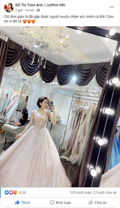 Trâm Anh đăng ảnh mặc váy cưới, cám ơn vì tất cả, fan hâm mộ nháo nhào vào chúc mừng hạnh phúc