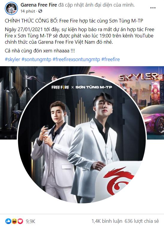 Garena Free Fire chính thức kết hợp cùng Sơn Tùng ra mắt Skyler