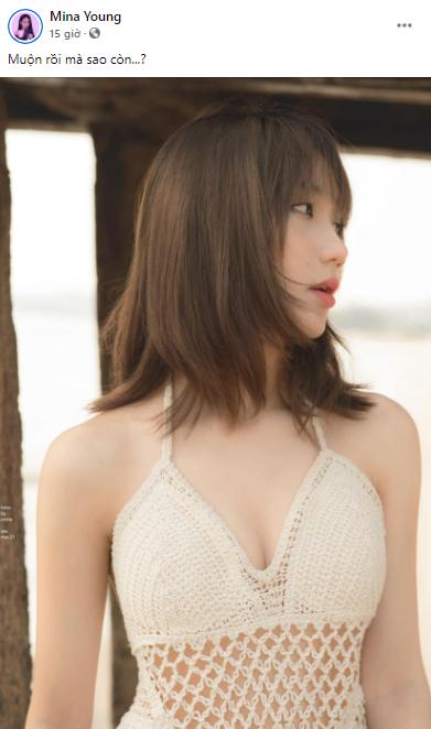 Khoe hình mặc bikini sexy, Mina Young còn bắt trend viết cap giống Sơn Tùng M-TP khiến fan phấn khích