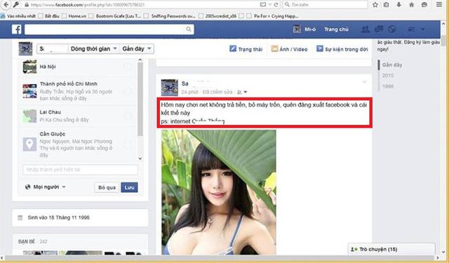 Thanh niên quỵt tiền net quên thoát nick, bị chủ quán phá Facebook