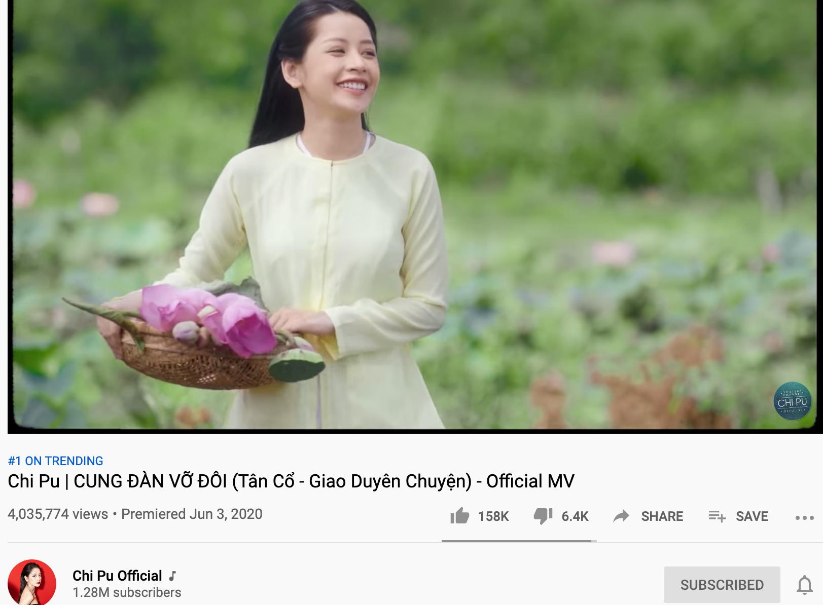 Chi Pu trở thành ca sĩ có nhiều MV solo đạt top 1 trending nhất Vpop