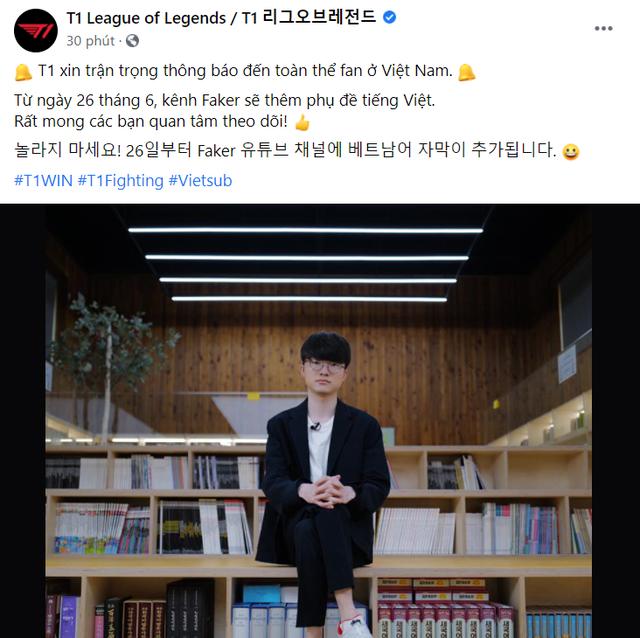 Fanpage T1 bất ngờ đăng tải thông báo tiếng Việt, nội dung khiến các fan Faker tại Việt Nam đứng ngồi không yên