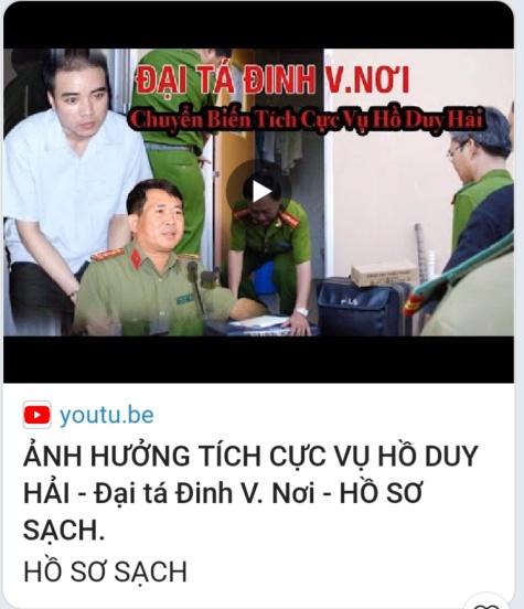 Nhiều kênh YouTube mạo danh đại tá Đinh Văn Nơi phát ngôn về vụ Hồ Duy Hải