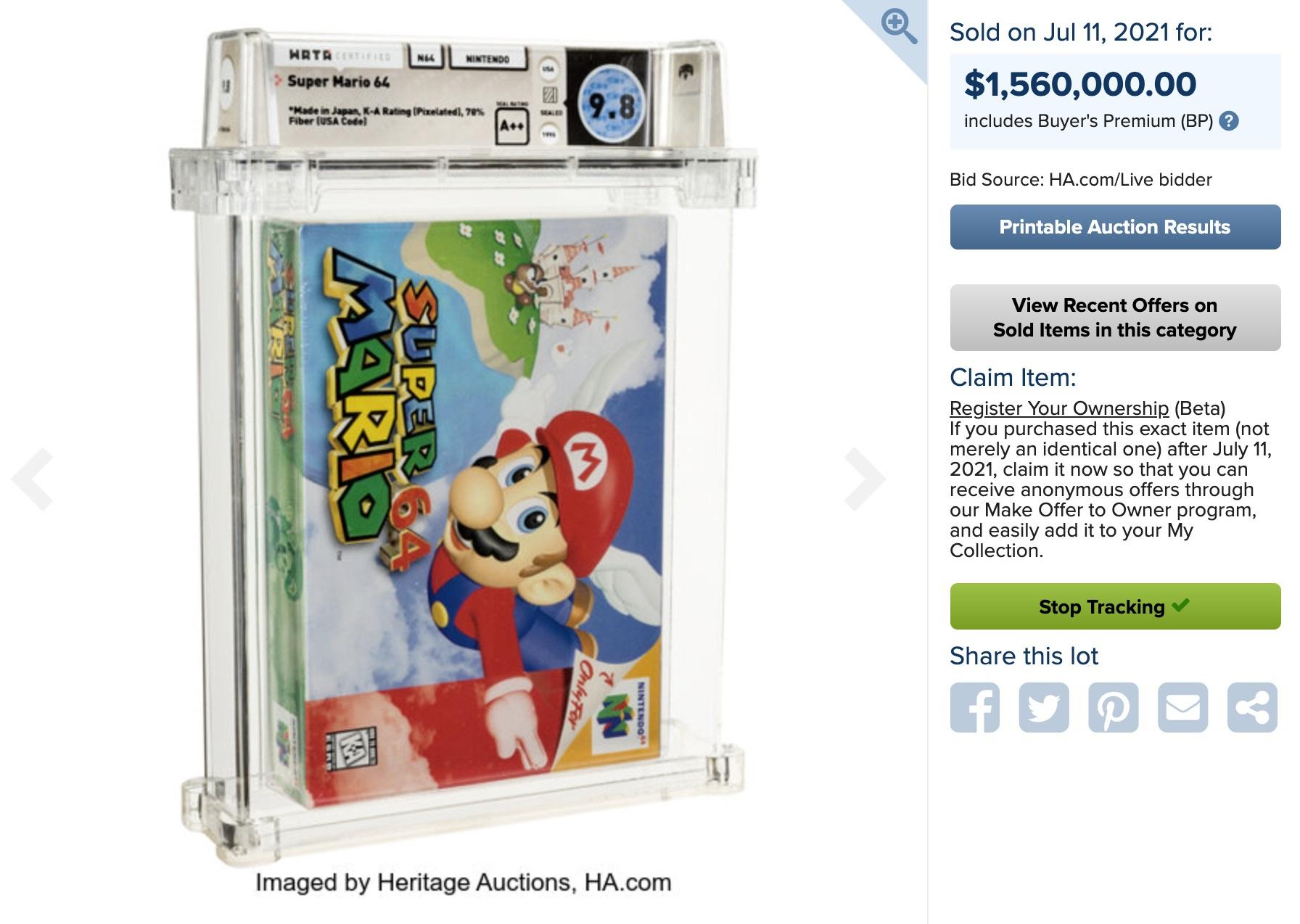 bang game Super Mario 64 gia hon 1, 5 trieu USD anh 1